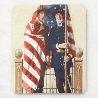Civil War US Flag Union Confederate Soldier Mouse Pad