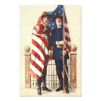 Civil War US Flag Union Confederate Soldier Photograph