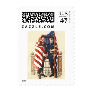 Civil War US Flag Union Confederate Soldier Postage Stamp