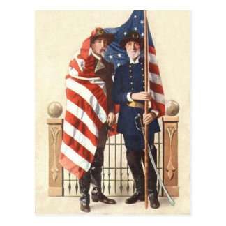 Civil War US Flag Union Confederate Soldier Postcard