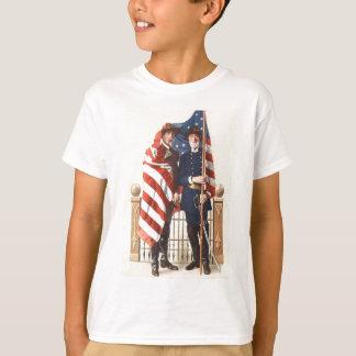 Civil War US Flag Union Confederate Soldier T-Shirt