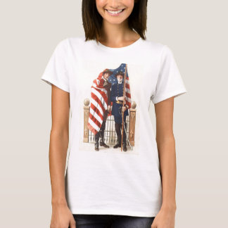 Civil War US Flag Union Confederate Soldier T-Shirt