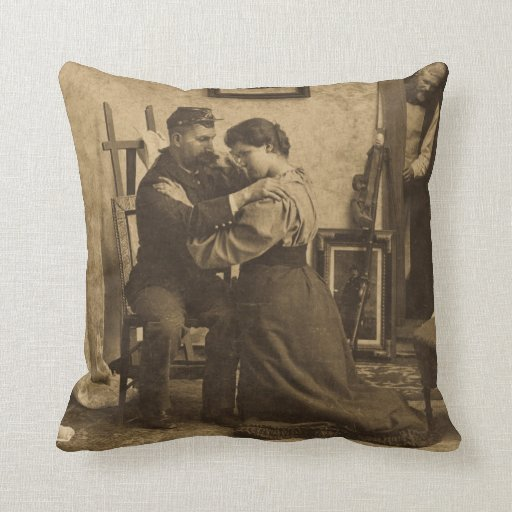 Civil War Vintage Romance Lovers Called to War Throw Pillow
