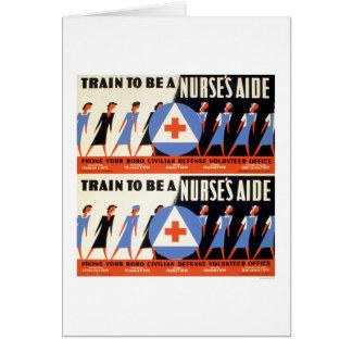Civilian Defense - Train to be a Nurse's Aid - WPA Card
