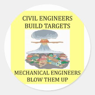 civilmechanical engineers round stickers