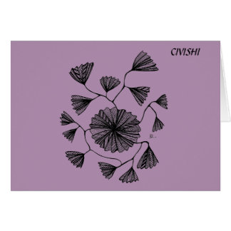 Civishi #123 Black, Abstract Sea Fan Card