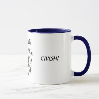 Civishi #123 Black, Abstract Sea Fan Mug