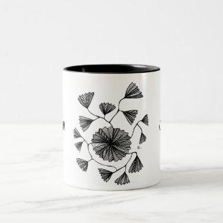 Civishi #123 Black, Abstract Sea Fan Two-Tone Coffee Mug