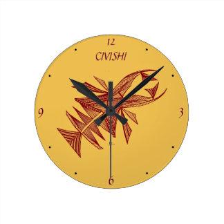Civishi #218 rojo, criatura abstracta del mar reloj redondo mediano