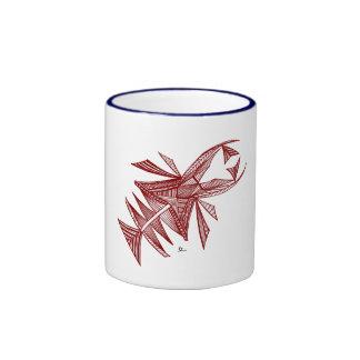 Civishi #218 rojo, criatura abstracta del mar taza de dos colores