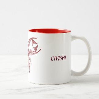 Civishi #218 rojo, criatura abstracta del mar taza de dos tonos