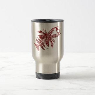 Civishi #218 rojo, criatura abstracta del mar taza de viaje