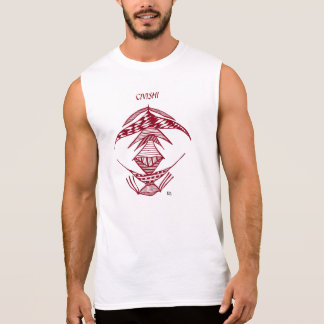 Civishi #23 Red, Abstract Alien Creature Sleeveless T-shirts