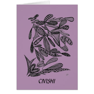 Civishi #262 Black - Abstract Leafy Design Stationery Note Card