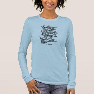 Civishi #262 Black - Abstract Leafy Design Long Sleeve T-Shirt