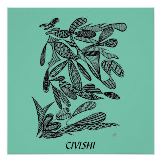Civishi #262 Black - Abstract Leafy Design Poster