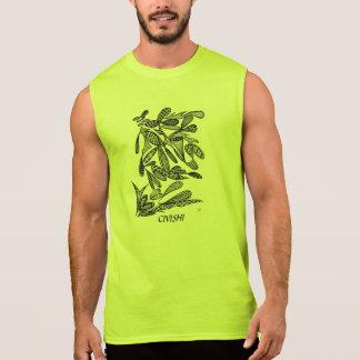 Civishi #262 Black - Abstract Leafy Design Sleeveless Shirt