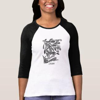 Civishi #262 Black - Abstract Leafy Design T-Shirt