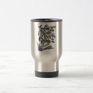 Civishi #262 Black - Abstract Leafy Design Travel Mug