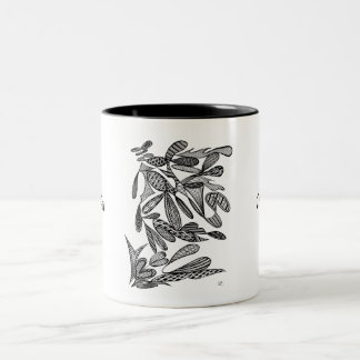 Civishi #262 Black - Abstract Leafy Design Two-Tone Coffee Mug
