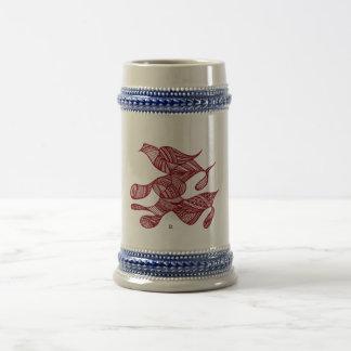 Civishi #32 Red, Abstract Running Bird Beer Stein