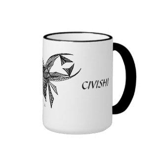 Civishi Design #218 Black Abstract Sea Creature Ringer Coffee Mug