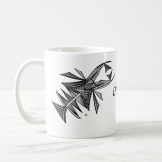Civishi Design #218 Black Abstract Sea Creature Classic White Coffee Mug