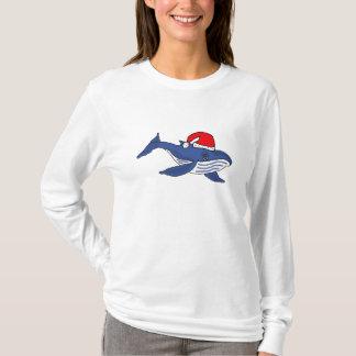 CJ- Funny Blue Whale in Santa hat Shirt