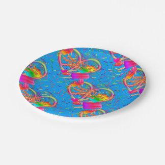 CKC-Paz, amor y Popsicle, placas del Azul-Papel Plato De Papel De 7 Pulgadas