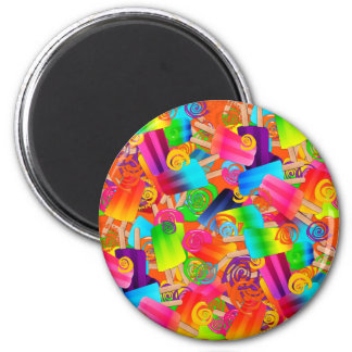 CKC Popsicle Swirls Orange-ROUND MAGNET