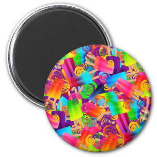 CKC Popsicle Swirls Purple-ROUND MAGNET