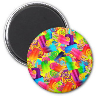 CKC Popsicle Swirls Yellow-ROUND MAGNET
