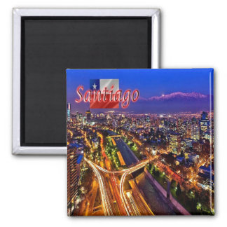 CL - Chile - Santiago - Night View Magnet