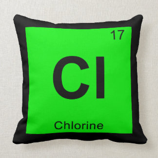 Cl - Chlorine Chemistry Periodic Table Symbol Throw Pillows