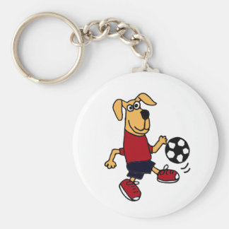 CL- Funny Dog Playing Soccer Key Chain