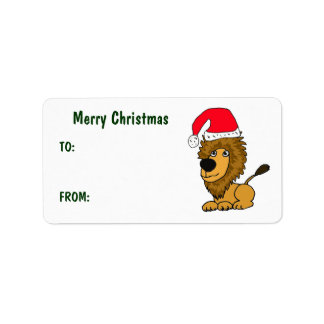 CL- Funny Lion Christmas Gift Tags Address Label