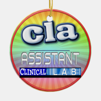 CLA LOGO - ASSISTANT CLINICAL LABORATORY Double-Sided CERAMIC ROUND CHRISTMAS ORNAMENT