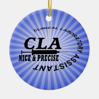 CLA SLOGAN - NICE AND PRECISE! LABORATORY Double-Sided CERAMIC ROUND CHRISTMAS ORNAMENT