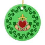 Claddagh and Green Knotwork Ceramic Ornament