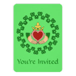 Claddagh and Green Knotwork Invitation