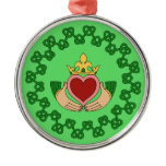 Claddagh and Green Knotwork Metal Ornament