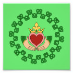 Claddagh and Green Knotwork Photo Print
