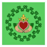 Claddagh and Green Knotwork Poster