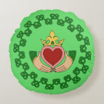 Claddagh and Green Knotwork Round Pillow