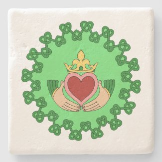 Claddagh and Green Knotwork Stone Coaster