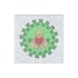 Claddagh and Green Knotwork Stone Magnet