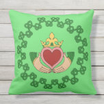 Claddagh and Green Knotwork Throw Pillow