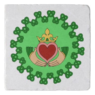 Valentines Themed Claddagh and Green Knotwork Trivet