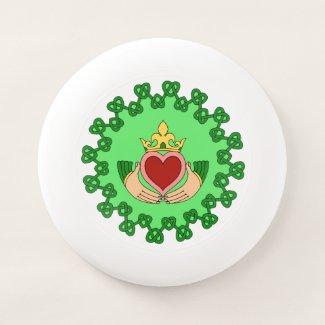 Claddagh and Green Knotwork Wham-O Frisbee