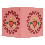 Claddagh and Red Knotwork on Pink 3 Ring Binder